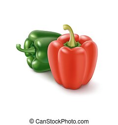 Two Green and Red Sweet Bulgarian Bell Peppers - Two Vector...