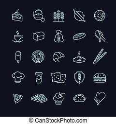 bakery icons, vector food