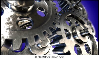 Spinning Gears HD Video - A HD 1080p stock video close-up of...