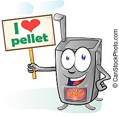 fun stove cartoon with signboard on white background