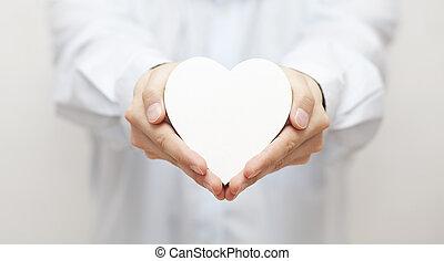 Coração, branca, mãos