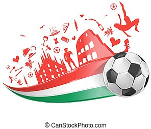 italian flag and symbol set with soccer ball
