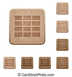Spreadsheet wooden buttons - Set of carved wooden...