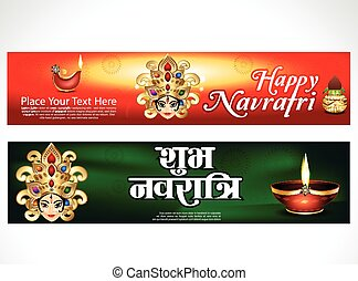 happy navratri wave banner background vector illustration