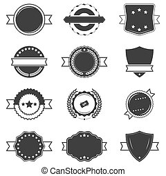 Set of blank black and white retro labels.