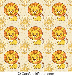 Funny seamless vector pattern with lions.
