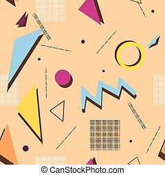Abstract composition. Minimalistic fashion backdrop design. Patch geometric shape icon. Modern ad banner font texture. Square, circle, triangle parts. Beige seamless text frame fiber. Stock vector art