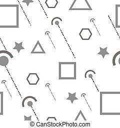 Abstract composition. Minimalistic fashion backdrop design. White, black geometric shapes icon. Modern ad banner font texture. Square, hexagon, triangle, star parts. Text frame fiber. Stock vector art