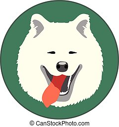 Digital vector samoyed dog face