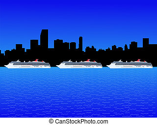 Miami with cruise ships
