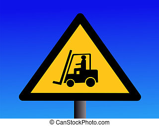 Forklift truck sign illustration against blue sky