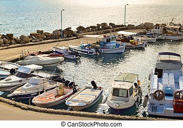 Tsilivi marina in Zakynthos at sun down, Greece