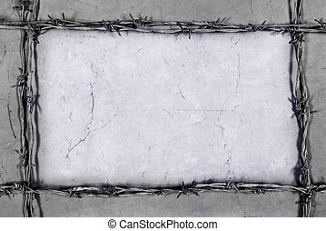 barbed wire frame on the gray background