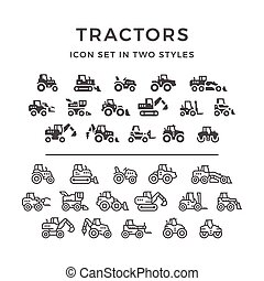 Set icons of tractors - Set line icons of tractors, farm and...