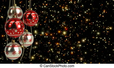 red and silver christmas balls with glitter bokeh background...