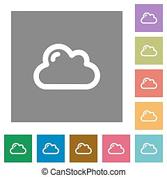 Cloud square flat icons - Cloud flat icon set on color...