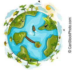 földgolyó, zöld