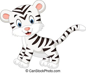 white tiger - illustration of cute baby white tiger