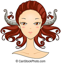 Taurus Girl with Clipping Path