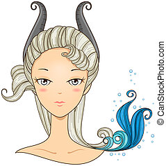 Capricorn Girl with Clipping Path