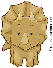 Cute Triceratops with Clipping Path