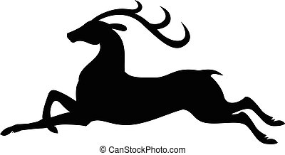 Silhouette jumping fly deer - Vector illustrations of...