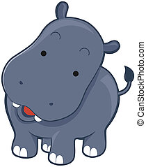 Cute Hippopotamus with Clipping Path