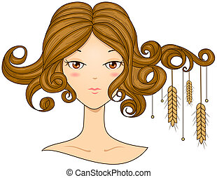 Virgo Girl with Clipping Path
