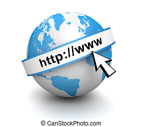 internet globe isolated 3d illustration