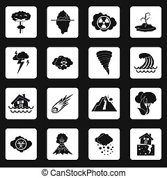 Natural disaster icons set, simple style - icons set in...