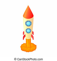 Rocket for space flight icon, cartoon style - Rocket for...