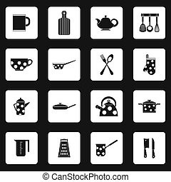 Kitchen utensil icons set, simple style - icons set in...