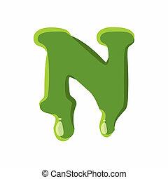 Letter N made of green slime - Letter N from latin alphabet...
