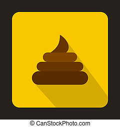 Poop icon in flat style - icon in flat style on a yellow...