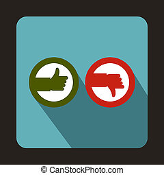 Thumbs up and down icon, flat style - icon in flat style on...