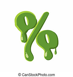 Percent sign made of green slime - Percent sign from latin...