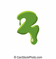 Numder 2 made of green slime - Number 2 from latin alphabet...