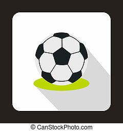 Football ball icon, flat style - icon in flat style on a...