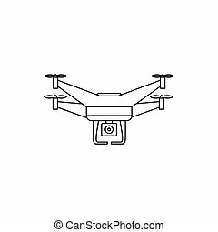 Quadcopter drone with camera icon, outline style -...