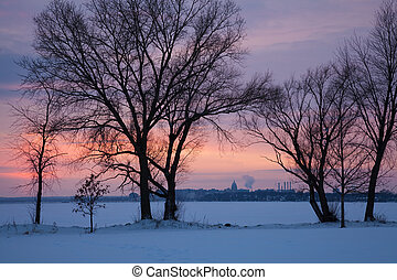 Capitol of Wisconsin seen across Monona Lake - Capitol of...