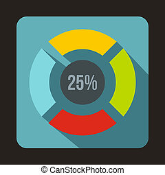 Web preloader, 25 percent icon, flat style - icon in flat...