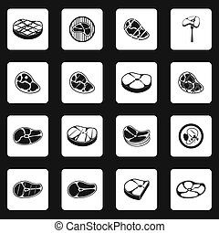 Steak icons set, simple style - icons set in simple style...
