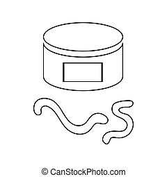 Can of earthworm icon, outline style - Can of earthworm icon...