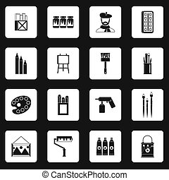 Artist studio icons set, simple style - icons set in simple...