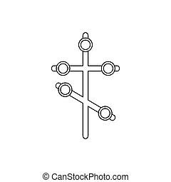Religion cross icon, outline style - Religion cross icon in...