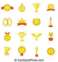 Trophy award icons set, in cartoon style - Trophy award...