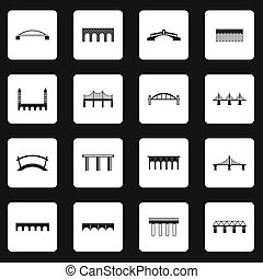 Bridge icons set in simple style - icons set in simple...