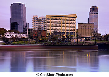 Sunrise in Little Rock, Arkansas Blurred barque in the...