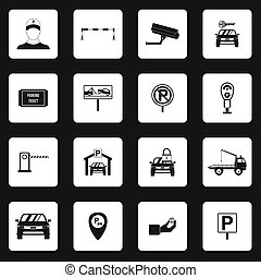 Parking icons set, simple style - Parking icons set in...
