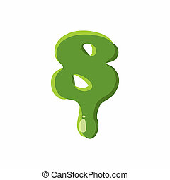 Numder 8 made of green slime - Number 8 from latin alphabet...